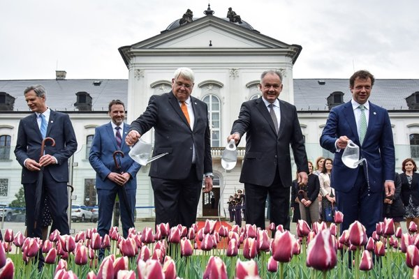 Dutch Ambassador to Slovakia, Henk Cor van der Kwast, President Andrej Kiska and financial director of Jub Holland, Dolph Uittenbogaard, during the ceremonial launch of the new tulip variety.