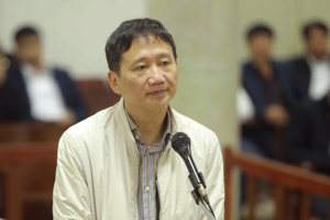 Trinh Xuan Thanh, a former chairman of state energy giant PetroVietnam's construction arm, appears in court in Hanoi, Vietnam.