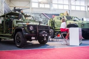 Light technical vehicle FOX (L) and armoured tactical vehicle 4x4 (ZETOR, R).