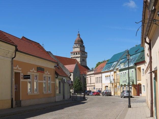 Street leading to Skalica's central square.