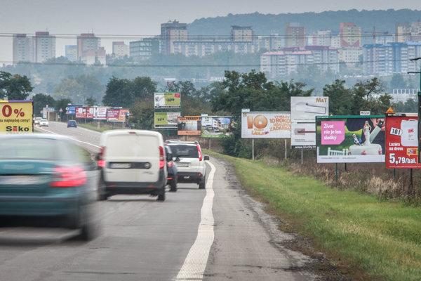 Tens of billboards flank roads in Slovakia.