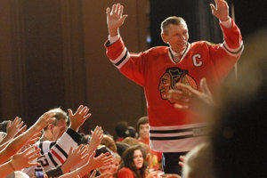 Stan Mikita arriving at regular meeting with Chicago Blackhawks fans, July 26, 2013.