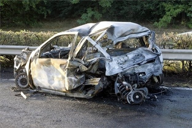 The Fiat Punto pushed out of the road by Varholíková and burnt down.