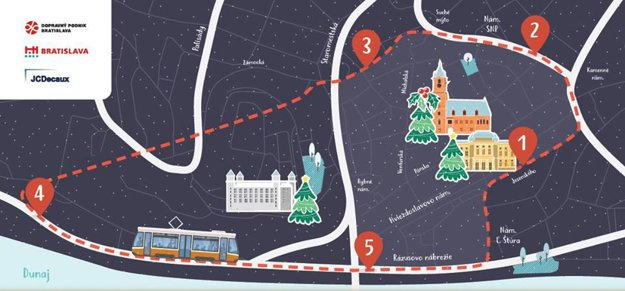 Christmas tram route map.