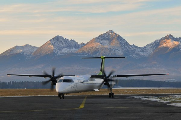 The airport in Poprad is situated just under the High Tatra mountains.