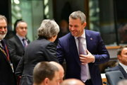 British PM Theresa May greets her Slovak counterpart Peter Pellegrini.
