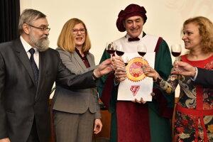 Celebrating the Protected Designation of Origin label for Skalický Rubín. Ľudovít Bránecký is the secon from the right.