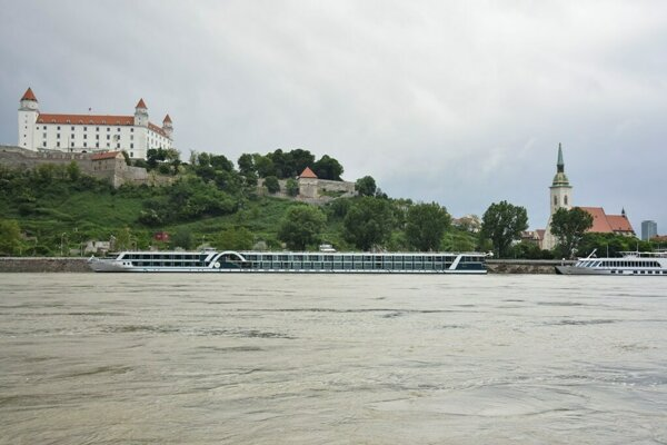 The increased water level of the Danube in Bratislava.
