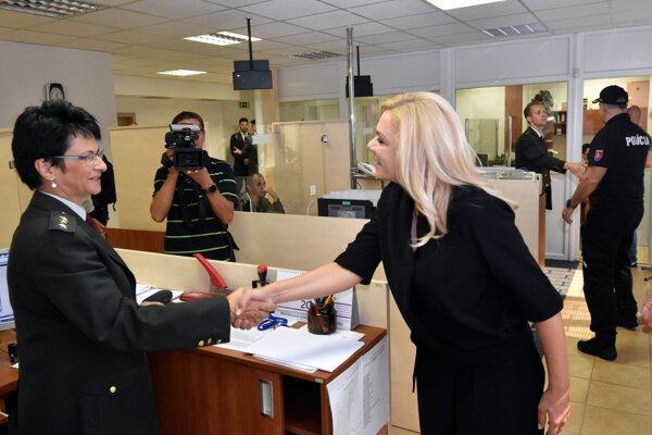 Interior Minister Denisa Saková at the opening of the new premises of the foreigners' police branch in Žilina, northern Slovakia.