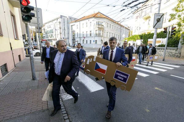 "Mayors and businesspeople from the Kysuce Region, northern Slovakia, attend a ""lorry"" protest in Bratislava on October 22, 2019. The protest takes place in front of the European Commmission in Bratislava building"