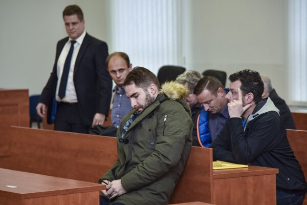 Defendants during a public hearing in the corruption case of SFZ delegates and referees at the Specialised Criminal Court in Pezinok on November 27, 2019