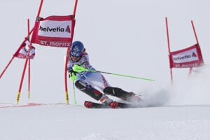 Petra Vlhová of Slovakia competes during the women's parallel slalom at the FIS Alpine Ski World Cup in St Moritz, Switzerland.
