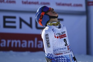 Slovakia's Petra Vlhová crosses the finish line following an alpine ski race at the World Cup women's giant slalom in Sestriere, Italy.