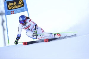 Slovakia's Petra Vlhová competes during the first run of an alpine ski, World Cup women's giant slalom in Sestriere, Italy.