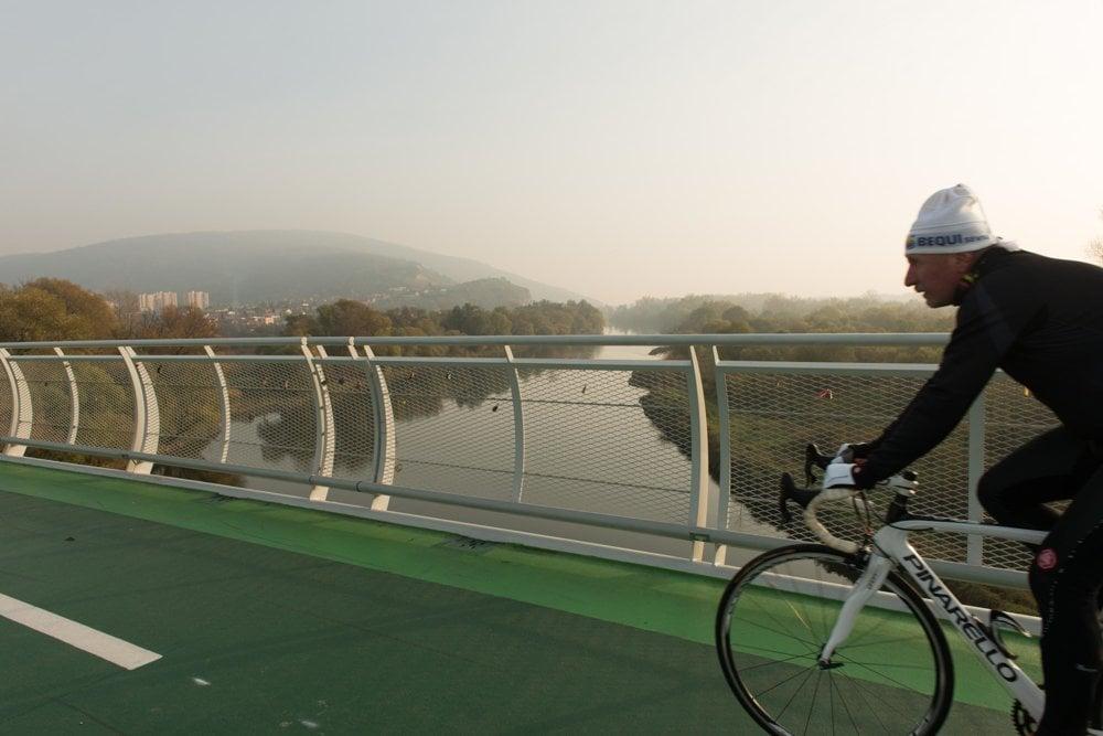 A bridge joining Slovakia with Austria near Bratislava.