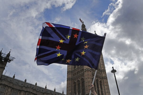 A pro EU protestor waves flags opposite the House of Parliament in London in April 2019.