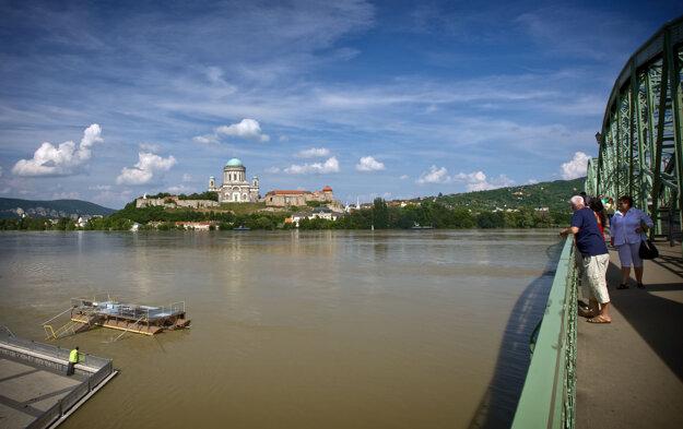 The view of the Esztergom Basilica from Mária Valéria Bridge.