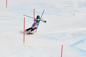 Slovakia's Petra Vlhová speeds down the course on her way to win an alpine ski, women's World Cup slalom in Kranjska Gora, Slovenia.