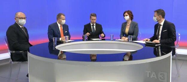 Richard Sulík, Boris Kollár on the left and Veronika Remišová and Eduard Heger on the right.