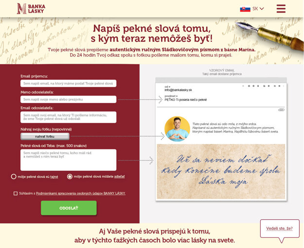 The Warm-hearted Words (Pekné slová) homepage is available only in Slovak, but instructions can be understood easily.