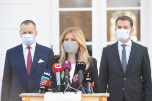 President Zuzana Čaputová met with PM Igor Matovič (r) and Speaker of Parliament Boris Kollár (l) on April 6.