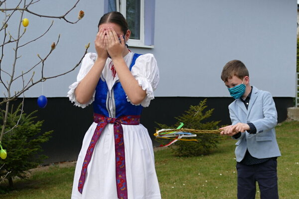 A brother and his sister celebrated Easter in the village of Strečno (Žilina Region).