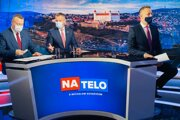 Former PM Peter Pellegrini (centre) attends the political debate programme Na telo, broadcast on TV Markíza, on May 31, 2020.