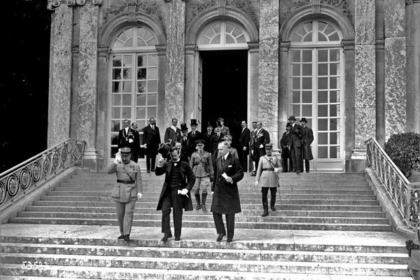 Hungarian delegation is leaving the castle Big Trianon after signing the treaty on June 4, 1920.