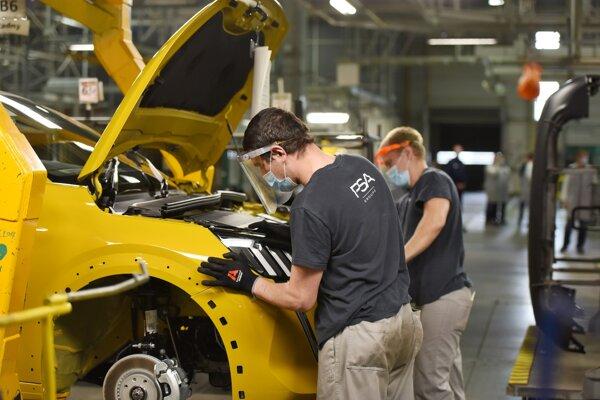 PSA workers in Trnava assemble cars June 5, 2020