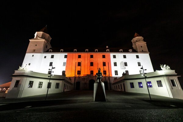 Bratislava Castle dressed in red and white on August 18.