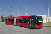 Bratislava borroved the hybrid trolleybus from the Czech city of České Budějovice for a week.