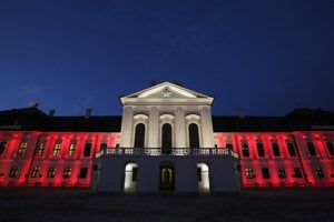 The Presidential Palace was lit in red and white on November 3 evening to show solidarity with Austria.