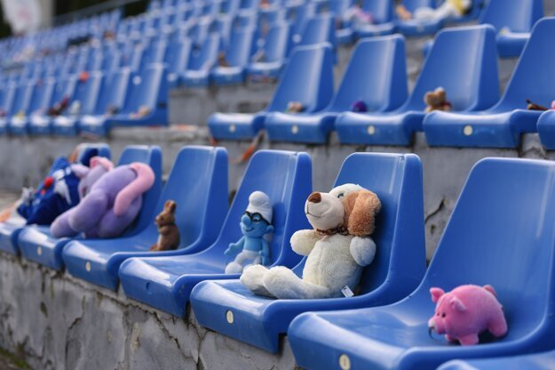 Plush toys as the audience during the football match between Senica and Sereď.