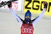 Petra Vlhová of Slovakia celebrates after winning the FIS Alpine Ski World Cup women's slalom race at the Levi ski resort in Finland on November 22.