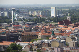 A view of Bratislava up from the National Bank of Slovakia high-rise building.
