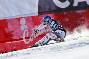 Slovakia's Petra Vlhová speeds down the course during the super G portion of the women's combined race, at the alpine ski World Championships, in Cortina d'Ampezzo, Italy.