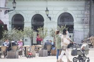 Restaurant terraces in Bratislava