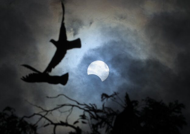Partial solar eclipse observable from the Indian city of Hyderabad on December 26, 2019.