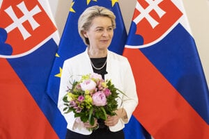EC President Ursula von der Leyen at the Government's Office during her visit in Slovakia on June 21.