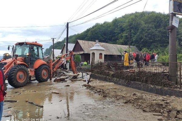 The flood hit the village of Lenartov in eastern Slovakia.