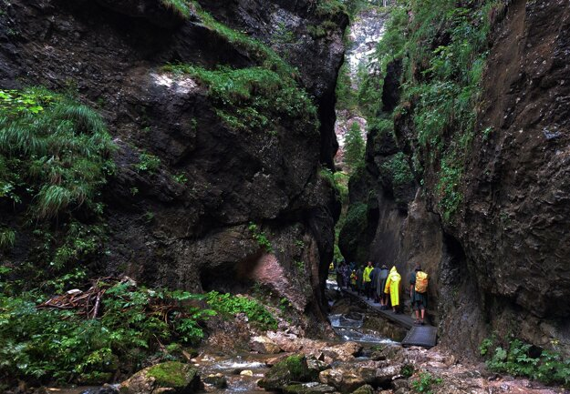 Plenty of footbridges, ladders and waterfalls can be found in the Jánošíkove Diery gorge outside Terchová.