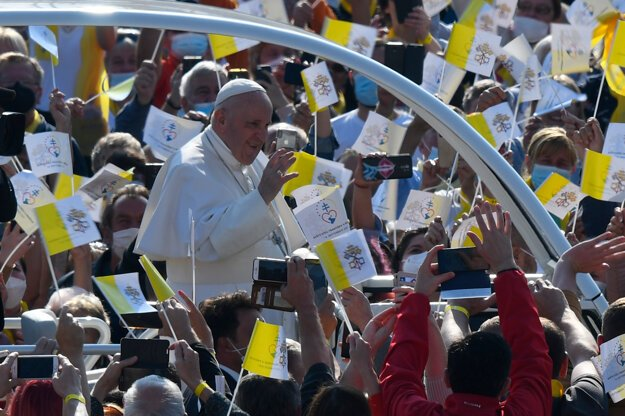 Pope Francis greets the crowd in Prešov.