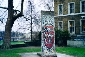 The Berlin Wall fragment at the Imperial War Museum in London.