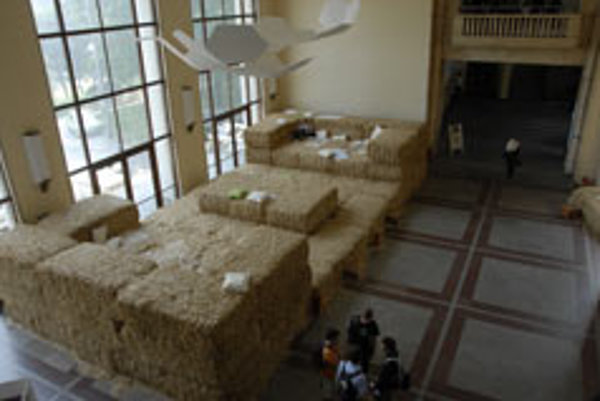 Giant straw sofas were part of the Welcome to the Living Room project.