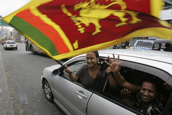 Sri Lankans celebrate victory over the Tamil Tiger rebels.