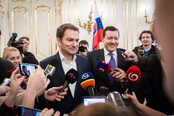 Matovič (L) and Lišpic during coalition talks.