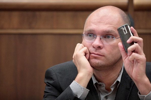 A double-edged sword? Richard Sulík and his mobile.