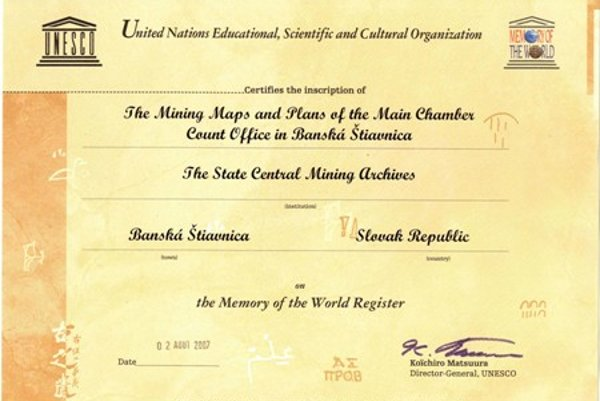 The certificate confirming the inscription on the UNESCO register.