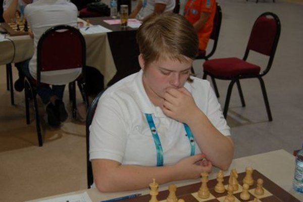 Konkolová at the Chess Olympics in Istanbul.