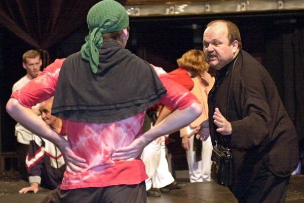 Jozef Bednárik (r) during a rehearsal at the Andrej Bagár Theatre in Nitra before the premiere of the musical Zorba.